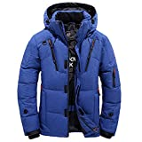 Herren Steppjacke Winterjacke Baumwolle Stand Zipper Warme Winter dicken Mantel Hoodied Übergangsjacke Daunenjacke,Männerjacke Kapuzenjacke Windjacke (XL, Blau)