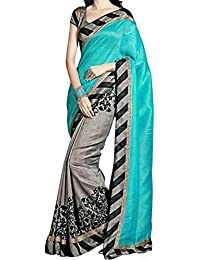 Macube Women's Bhagalpuri Silk Saree With Blouse Piece (Ms95_11,Multicolor,Free Size)