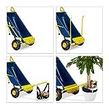 Relaxdays Sackkarre 8-in-1, Multifunktionale Schubkarre, 65 L, Müllsackständer, 136 kg, blau / gelb - 6