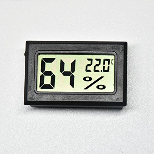 AGEG Digitaler Elektronischer Thermometer Feuchtigkeitsmesser Hygrometer Humidiometer mit LCD-Anzeige für Familie Büro Fabrik Hundehütte Reptil Behälter (Rechteckig Schwarz) (Familie Thermometer)