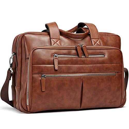 Leder Männer Aktentasche Groß Kapazität Aktenkoffer Arbeitstaschen Reise Businesstasche passen 15,6 Zoll Laptop für Herren Braun (Executive-aktenkoffer-tasche)