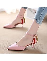 da0e88be ZHANGJIA Baotou Gato y Sandalias, punteros para Mujer Son Zapatos Sexy y  Coreanos, Pink