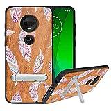 HHDY Coque pour Motorola Moto G7 /G7 Plus, Etui Bois avec Support Béquille Métal, Coque en Bois Authentique et Unique, TPU Souple Bumper, Housse Etui Case pour Motorola Moto G7 /G7 Plus, Feather