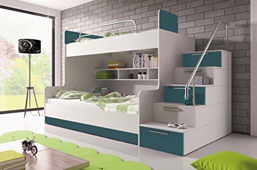 Furnistad | Etagenbett für Kinder Heaven | Stockbett mit Treppe und Bettkasten (Option rechts, Weiß + Türkis)