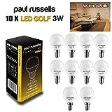 Paul Russel® 3W Golf Ball Warm Weiß LED Leuchtmittel E14/SES Kleine Edison Schraube Gap, 280Lumen sehr hell Lampe, entspricht 25W Glühbirne nicht dimmbar Frosted Globe Leuchtmittel, 10Stück Leuchtmittel