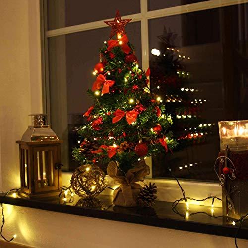 Baunsal GmbH & Co.KG Weihnachtsbaum Tannenbaum Christbaum künstlich 90 cm grün mit roter Dekoration geschmückt und Lichterkette mit Micro LEDs