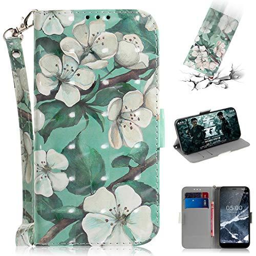 WIWJ Schutzhülle Kompatibel mit Nokia 5.1 2018 Handyhülle Lederhülle Flip Wallet Cover[3D Halter Handyhüllen für Nokia 5.1 2018 Hülle-Aquarell Blume