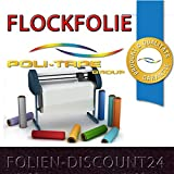 (EUR 25,80 / Quadratmeter) FLOCKFOLIE Black 502 - 700 BÜGELFOLIE TOP ! Preistip Flex Flock 1 M x 50 cm