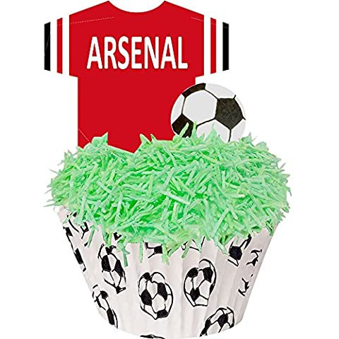 A kit of football cupcake cases and edible decorations - great for Arsenal fans - perfectly pre-cut T-Shirts and footballs - just pop them out - 24 Toppers + 12 Cases + Sprinkles by CDA Products Ltd