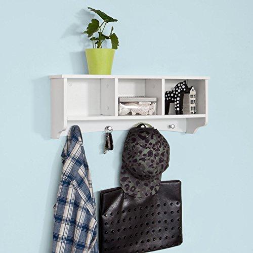 Sobuy® frg48-w, portachiavi da parete, appendichiavi, appendiabiti, mensola da bagno, bianco,l60cm,it