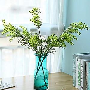 hlpf Acacia Artificial Amarillo Mimosa Flor de Seda Falsa Banquete de Boda Decoración Decoración Planta de Frijol Rojo para Navidad 88 cm 3 Ramas 1 unids Rojo
