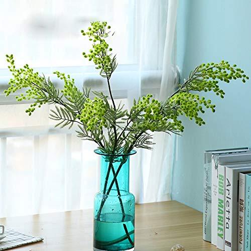 Acacia Artificial Mimosa Amarilla Flor de Seda Falsa Fiesta de Bodas Decoración de Eventos Planta de Frijol Rojo para Navidad 88 cm 3 Ramas 1 pcs Blanco
