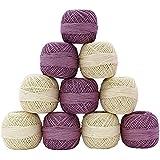 10 piezas blanca púrpura Tatting Crochet Hilados de algodón mercerizado Hilo Tejer Madeja