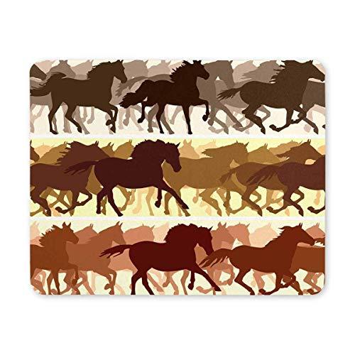 Luancrop Horizontale Banner Silhouette Herde von Pferden Rennen Rechteck rutschfeste Gummi Laptop Mousepad Mauspads/Mauspads Fall Deckung für Office Home Frau Mann Mitarbeiter Chef Arbeit