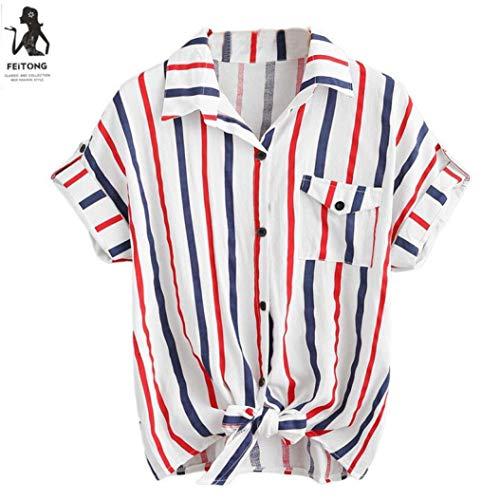 EUYOUZI Womens Stripe Blouse Ladies Blouses Short Sleeve Shirt Women Shirt Great for Party/Daily/Beach (M, White) -