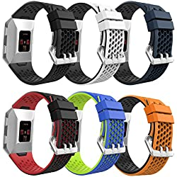 """MoKo Fitbit Ionic Bands with Fastener Ring, [6 PACK] Colorful Soft Silicone Perforated Adjustable Strap for Fitbit Ionic Smart Watch, Small Size 4.53""""-8.07"""" (115mm-205mm), 6PCS (Multi-Colors)"""
