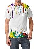 Goodstoworld Drôle Peinture Multicolore Imprimé T-Shirts D'été Élégant Col Rond Tshirt Tee Tops pour Hommes Femmes XL