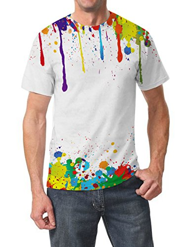Goodstoworld T Shirt 3D Bunt Graffiti Druck Herren Damen Printed Sommer Lustig Beiläufige Kurzarm Cooles T-Shirts Tee Top M