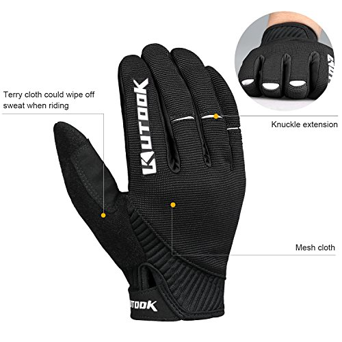 Kutook Herren Fahrradhandschuhe Mit Gel Vollfinger MTB Handschuhe für das Radfahren(Schwarz,L) - 4