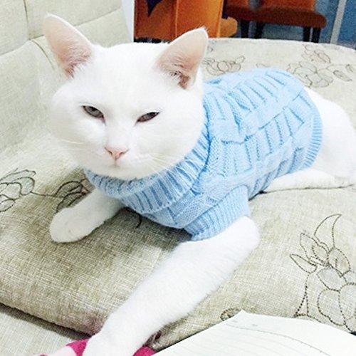 LUCKSTAR Kabel Knit Rollkragen Pullover-Katzen Sweater Pullover Knitted Kleidung Pet Pullover für Kleine Hunde & Katzen Kätzchen Kitty Chihuahua Teddy Strickwaren kaltem Wetter Outfit, XXL (Sweater-stoff Kabel-knit)