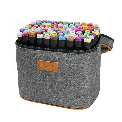 Hbwz 40 Set Color Marker Pen Set Zeichnung Malerei Kunst Dual Tip Sketch Pen Art Skizze Twin Tip Design mit Tragetasche,Productversion - Flipchart-tragetasche