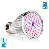 Led Grow light Bulb, 60W Full Spectrum Grow lights E27 Grow Plant Light for Hydroponics Greenhouse Organic, Lights For Fish Tank, Hydroponic Aquatic Indoor Plants,Pack of 1