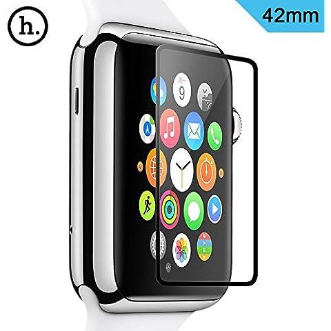 Apple Watch Protector de pantalla, [vidrio templado] Ghost Series–ultrafina 0,1mm/0.15mm [Protector de pantalla completa] Premium–Protector de pantalla de cristal templado para Apple Watch 38mm/42mm