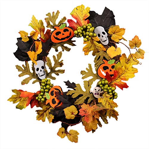 z-Fälschungs-Blatt-Kürbis-Geist-Ausschnitt Hängen Kranz Halloween Türdeko Durchmesser 35Cm (13.78In) Dunkel ()