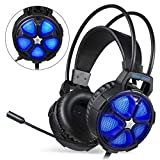 EasySMX Noise-Cancelling-Kopfhörer, G2000 Stereo Gaming Headset für PS4, Xbox One, Bass-Over-Ear-Kopfhörer mit Mikrofon, LED-Licht und Lautstärkeregelung für Laptop, PC