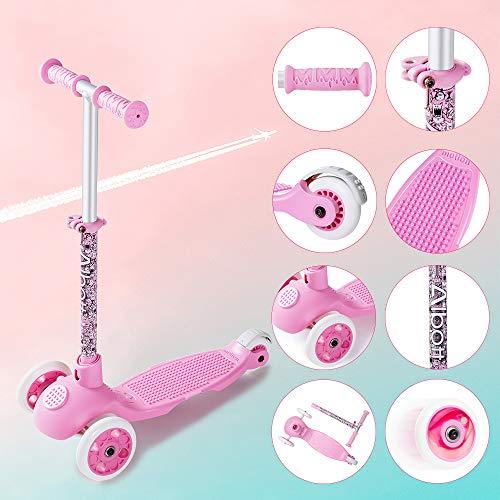 Albott Kinderroller Mini-Scooter Einstellbare Tretroller Bausteine Dreirad Roller für Mädchen mit PU blinkenden Rädern Dreiradscooter ab 3 Jahren bis 100kg belastbar (Rosa)