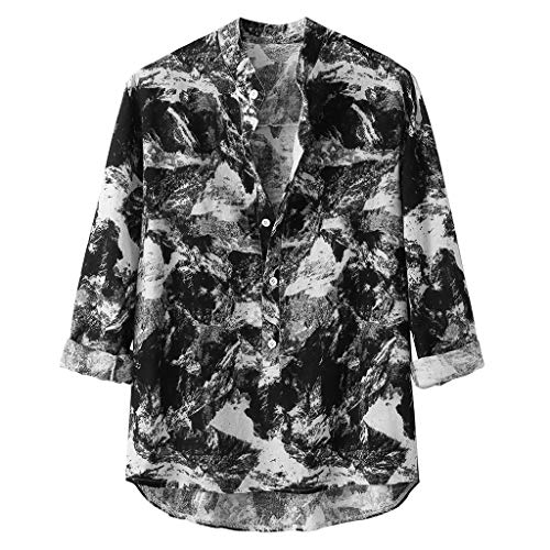 Committede Herren Fashion Hemd Drucken Ferien Art-langärmlig Printed Funky Shirt Long Sleeve Freizeit Hawaii Langarm Blusen Motiven modisch Party Club Urlaub Revers Oberteile -