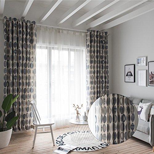 hjuns Salon Styler Haarbürsten Luxus dot Circle Print Baumwolle Vorhänge, 100x 280cm Single Panel Tülle Vorhang, ideal für Schlafzimmer, Wohnzimmer, Villa, Restaurant grau (Vorhänge Print-panel)