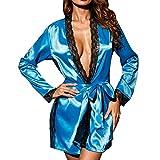 SamMoSon Abito da Donna Sexy Lungo in Kimono di Seta | Accappatoio da Donna a Maniche Lunghe con Pannelli in Pizzo Blu M
