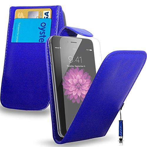 Apple iPhone 6S - Leder-Schlag-Fall-Abdeckungs-Beutel + Mini Stylus Pen + Screen Protector & Poliertuch (schwarz) Blue