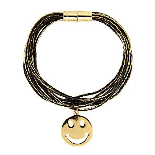 sweet deluxe 6614 Armband Smile in gold / schwarz, Damen-Armband mit Smily Emoji Anhänger, Geburtstagsgeschenk für Frauen Mädchen, Armreif für jeden Anlass Hochzeit, Geburtstag, Abiball (Deluxe-armband)