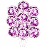 Magic Pailletten Ballon HARRYSTORE 10 Stück 12 Zoll Folie Latex Konfetti Multicolor Ballon Set Hochzeit Geburtstag Baby Shower (Lila)