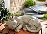 Unbekannt Dekofigur Katze aus Kunststein Deko Figur Skulptur Dekoration Garten Terrasse