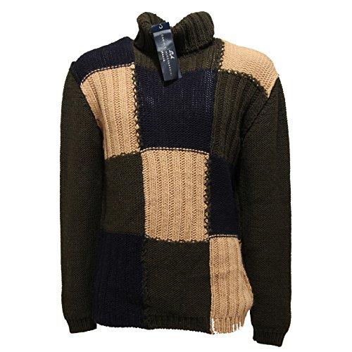 dolcevita DANIELE ALESSANDRINI PATCHWORK maglione maglia uomo sweater men 55328 [52]