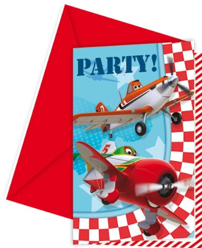 12-teiliges Einladungs-Set * PLANES * für Party und Geburtstag von DISNEY / PIXAR // 6 Einladungen plus 6 Umschläge // Kindergeburtstag Kinder Feier Fete Set Trinkbecher Invitation Einladung