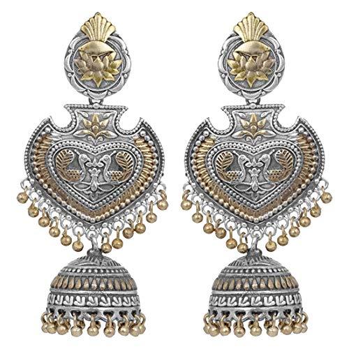 Aheli - orecchini jhumki indiani ossidati, design a forma di pavone, gioielli etnici alla moda per donne e ragazze