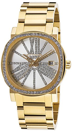 Dial Accented Steel Wittnauer Adele Tone Crystal Women's Gold Wn4007 Watch Silver TKJlF1c