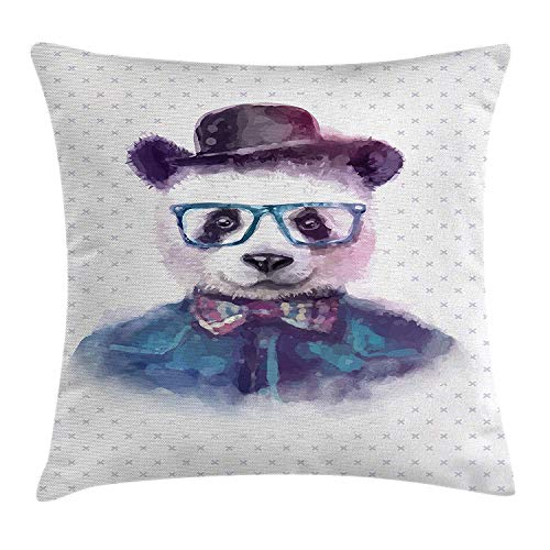 Kissenbezüge Funny Decor Throw Pillow Cushion Cover, Vintage Hipster Panda with Bow Tie Dickie Hat Horn Glasses Watercolor Print, Decorative Square Accent Pillow Case, 18 X 18 inches, Black Blue Dickies-cover