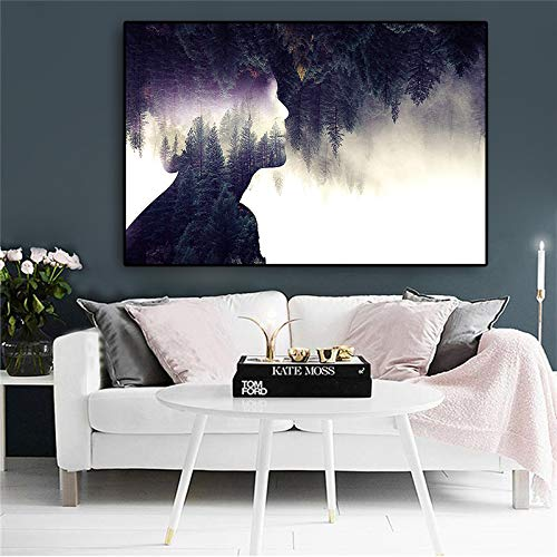 jiushice Abstrakte Landschaft Wald Figur Leinwand ng Poster Und Drucke Skandinavischen Minimalistischen Wand Pop Art Bild Für Wohnzimmer 1 50x70 cm