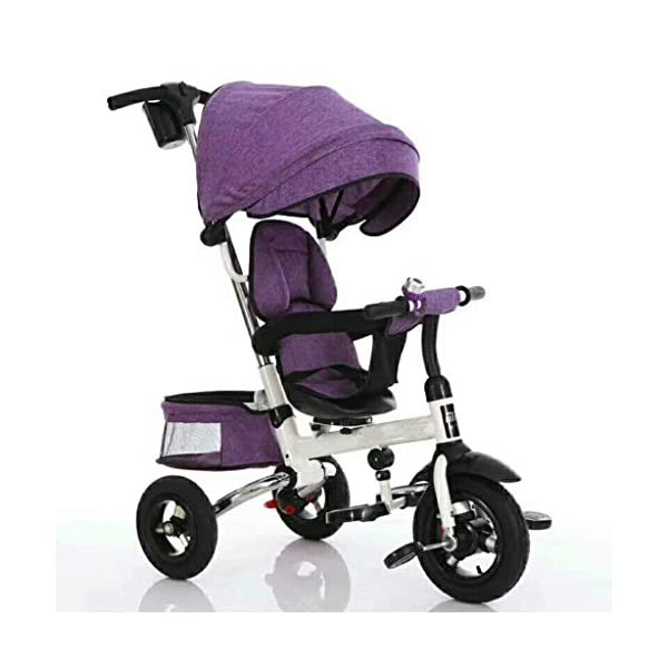 Pushchairs Folding Kids Ride-on Tricycle for Children with Sun Canopy, with 360° Rotating and Reclining Seat Prams (Color : Purple)  Features assembled canopies without worrying about rain and sunshine,Safety features and safety belts are provided for safety. The pedal can be folded for more convenient use: the pedal can be folded to make travel more convenient. Upgrade the thickened sponge pillow to protect the baby's head and make the baby ride safer. 1