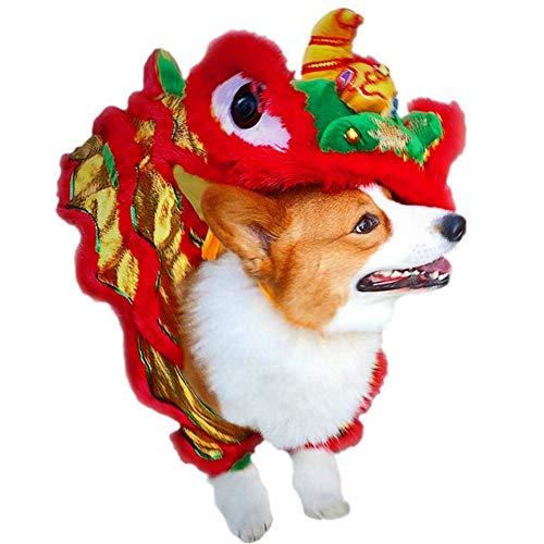 Dance Kostüm Dragon - XIYAO Hundekostüm Lion Dance Dragon Dance Haustier Kleidung Pet Makeover Lustige Kleidung Red Lucky Cosplay Kostüm für Haustier Hund Weihnachten Halloween Neujahr Kostüm