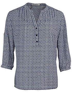 BETTY BARCLAY 3/4 Arm Bluse Knopfleiste Muster dunkelblau/weiß