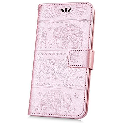 kompatibel mit Xiaomi Mi 8 Hülle,JAWSEU Lederhülle für Xiaomi Mi 8 Tasche Leder Flip Case Brieftasche Schutzhülle Elefant Flip hülle Bookstyle Kunstleder Handy Tasche Für Xiaomi Mi 8 Rose Gold