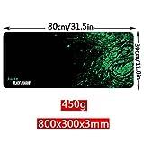 YINGNEW Mouse Pad Gamer Tapis de Souris de Gaming et Bureautique Taille XXL - 800x300x3mm (Noir + Vert)