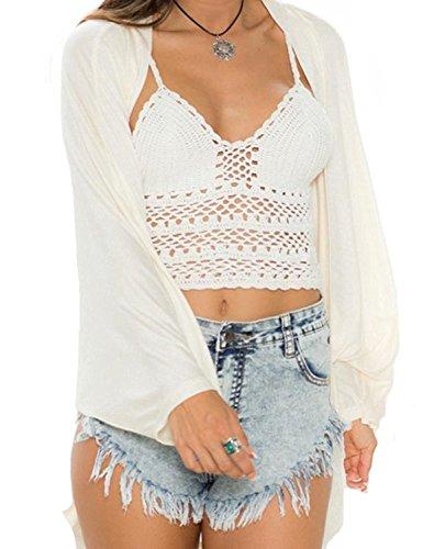 Minetom Donne Casuale Knit ala stampa Cardigan Jumper Outwear Manica Lunga Tops