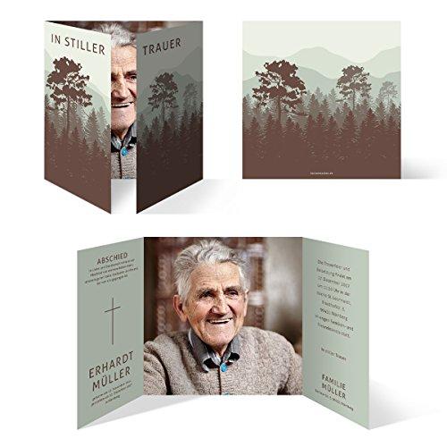 Individuelle Trauerkarten (30 Stück) Einladung Trauerfeier Karten - stiller Wald in Grün und Braun